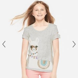 Llama with reversible sequin top